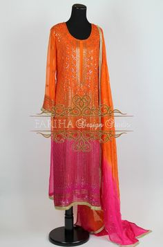 ORANGE AND HOT PINK SHADED CHIFFON WITH BEAUTIFUL MUKESH WORK