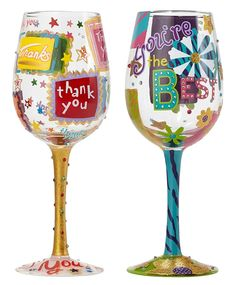 Lolita Hand Painted 15 oz Wine Glass - Thank You Thank You and You're The Best Bundle