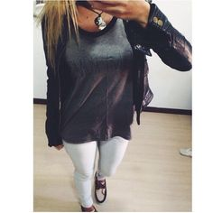 White Pants with Loose Grey Muscle T and Black Leather Jacket