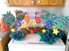 Our centerpieces we made of ninja turtles for Alexander party Turtle Birthday Parties, Ninja Turtle Birthday, Ninja Turtle Party, Ninja Turtles, 5th Birthday, Birthday Ideas, Ninja Turtle Centerpieces, Kids Party Themes, Party Ideas