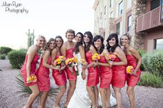 Pretty pink bridesmaids dresses and pink and yellow bouquets! - Jillian Ryan Photography