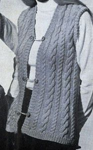 Cable Vest knit pattern from Vests, originally published by Fashions in Wool, Volume No. 120.