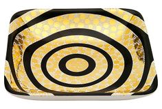 """5"""" Circles Plate, Gold/Black on OneKingsLane.com A mesmerizing design in black and gold, the circular motif on this plate is dotted with glimmering detail."""