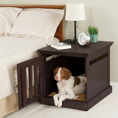 PET-FRIENDLY INTERIORS: no more #dogs jumping on the #bed with this smartly concealed crate for #pets