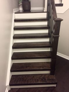 New Stair Treads, White Risers, New Iron Pickets With Newel Post Custom  Stained.