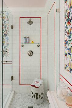 What Looks Like Wallpaper in This Bathroom Is Actually Tile Shower Door Handles, Shower Doors, Double Door Handles, Powder Room Decor, Powder Rooms, Shared Bathroom, Mosaic Bathroom, Rustic Room, Bathroom Hardware