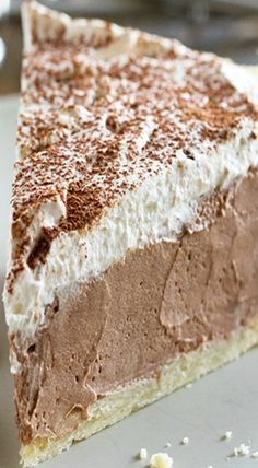 Chocolate Dream Pie Rich, creamy and silky, this Chocolate Cream Pie is a chocolate lovers dream! A creamy chocolate filling is topped with whipped cream in this easy, crowd pleasing pie. 13 Desserts, Delicious Desserts, Yummy Food, Lemon Desserts, Plated Desserts, Chocolates, Chocolate Dreams, Chocolate Desserts, Chocolate Filling