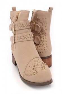 Beige Faux Suede Studded Accent Booties