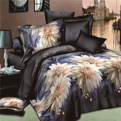 New-3D-Floral-Bedding-Sets-King-Size-Duvet-Cover-Bed-Sheet-Pillowcase-Bedclothes