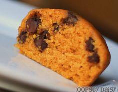 Pumpkin Muffins    3 1/3 c. flour    2 1/4 c. sugar    2 tsp. baking soda    1 tsp. cinnamon    1 tsp. salt    2 c. pumpkin    4 eggs    1 c. oil (May also substitute 1 c. applesauce instead!)    2/3 c. water    1 tsp. vanilla    1 c. chocolate chips (I'm not gonna lie.  I usually add many more!)