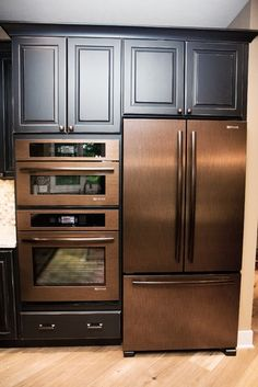 Copper Appliances - love these! My husband wouldn't let me get this fridge because he wanted ice dispenser in the door! : (