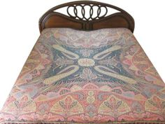 Amazon.com - Pashmina Wool Bedspreads Pink Red Floral Paisley Motif Indian Bedding