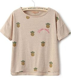 Apricot Short Sleeve Pineapple Embroidered T-Shirt - Sheinside.com