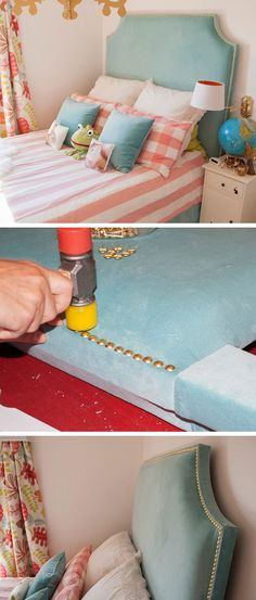 Upholstered Headboard with Brass Nails | Click for 18 DIY Headboard Ideas | DIY Bedroom Decor Ideas on a Budget