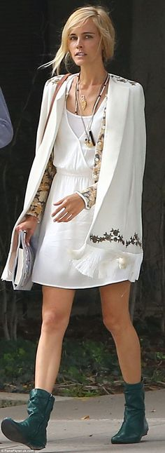 Very fitting! Isabel Lucas slipped her slender frame into a symbolic white dress and croch...