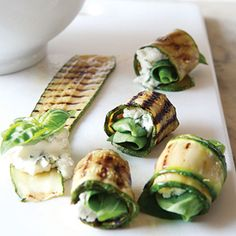 Zucchini SUSHI!  with goats cheese and basil.  Yum!