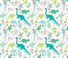 Cute baby boy pastel dinosaur fantasy series fabric by littlesmilemakers on Spoonflower - custom fabric