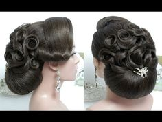 Bridal updo. Wedding prom hairstyle for long hair tutorial. - YouTube