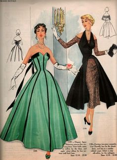 Fashion Illustration from Modes Royale Inspired Four Piece Cocktail Ensemble. Vintage Dress Patterns, Vintage Gowns, Vintage Outfits, 1950 Outfits, Fifties Fashion, Retro Fashion, Vintage Fashion, 1950s Fashion Dresses, Vintage Style