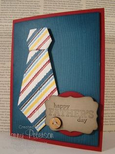 How to make a Origami Tie for Fathers Day Card, Jenny Peterson, Stampin' Up! Demonstrator