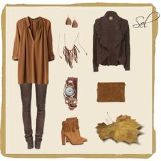 """""""brown leather & knit"""" by selenitabr on Polyvore"""
