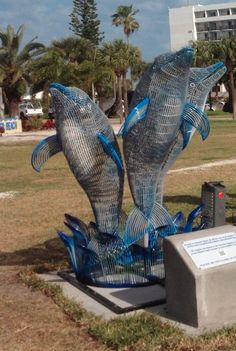 The official beginning of the Clearwater's Dolphins Trail is at Pier 60 Park at Clearwater Beach.  This sculpture marks the start and is the stunning creation of the late artist George Dallefeld.  Mr. Dallefeld's family generously donated his work so that the public could enjoy its beauty.