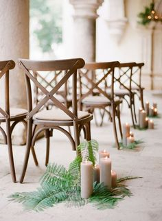 Ferns and candles as aisle décor. Source: josevillablog.com #aisledecor #ferns