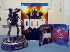 Doom: Collectors Edition PS4 Game Metal Case Revenant Statue on LED Lit Base
