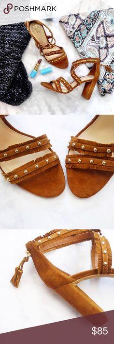 "Vince Camuto Cognac Suede Studded Fringe Sandals Details: * Size 8 * Cognac suede * Gold studs * Fringe trimmed straps * Back zip with tasseled zipper pull * 3.75"" heel * New in box Vince Camuto Shoes Sandals"