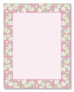 Pink Paisley Border | Flowers Paisley Wedding Stationery, 6390