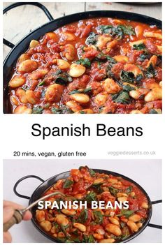 Smokey Spanish Beans Spanish Beans are packed with smoky flavor, but are super easy to make in just 20 minutes with 7 ingredients. Vegan and gluten free. Perfect with rice or fresh bread as a main dish or tapas. Only 125 calories per serving. Rice Recipes For Dinner, Vegetarian Recipes Dinner, Vegan Dinners, Veggie Recipes, Cooking Recipes, Healthy Recipes, Healthy Food, Quorn Recipes, Spanish Food Recipes