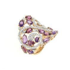 Casato Roma Gioielli: 18 Kt Rose Gold ring with Amethyst, Rhodolite and white Diamonds
