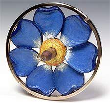 blue flower designer drop spindle so pretty
