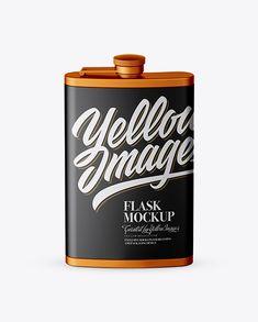 Matte Steel Flask Mockup (High-Angle Shot)