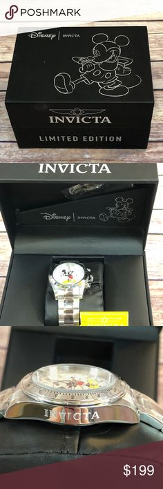 Invicta 25191 Men's Disney White Dial Stainless About Product      Chronograph  invicta 25191 disney chronograph men's dive watch features a 40mm wide and 13mm thick solid stainless steel case with a fixed bezel and textured screw down crown with function pushers. invicta 25191 is powered by japanese tmi vd53 quartz chronograph movement. this stylish watch also features a textured mickey mouse printed white dial with white and black accents silver tone luminous hands and index hour markers…