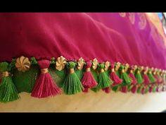 New Pattu Saree Kuchulu Designs - Kurti Blouse Saree Jacket Designs, Saree Tassels Designs, Saree Kuchu Designs, Saree Blouse Neck Designs, Blouse Designs, Silk Thread Earrings, Paper Earrings, Women's Earrings, Gothic Victorian Dresses