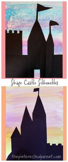 Shape Castle Sihouettes with Watercolors and construction paper - kids arts and crafts. tales Shape Castle Sihouettes with Watercolors and construction paper - kids art Arts And Crafts For Adults, Arts And Crafts House, Crafts For Boys, Arts And Crafts Projects, Art For Kids, Disney Crafts For Kids, Easy Arts And Crafts, Kid Crafts, Felt Crafts