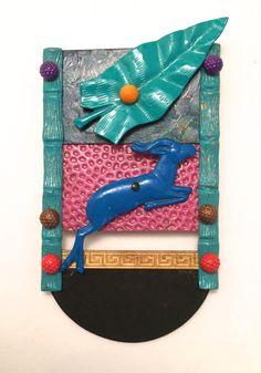 Eve Kaplin Brooch wearable Art Jewelry Gazelle-1980s