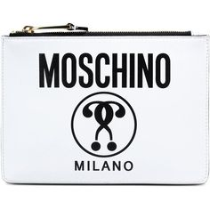 Moschino Clutch ($275) ❤ liked on Polyvore featuring bags, handbags, clutches, white, white leather purse, real leather purses, zipper handbag, white handbags and genuine leather purse