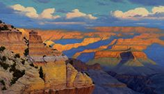 Morning Color-Yaki Point by Cody DeLong ~ 36 x 60 Western Landscape, Landscape Art, Landscape Paintings, Grand Canyon National Park, National Parks, Nature Paintings, Oil Paintings, Sky Painting, Park Art