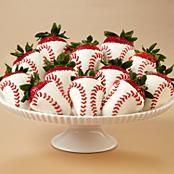 Baseball, white chocolate strawberries!!  Awesome!! too cute!
