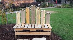 Love my beautiful pallet wood birdhouse bench made by talented hubby Mark Brooks! So adorable! Donna Poss Brooks