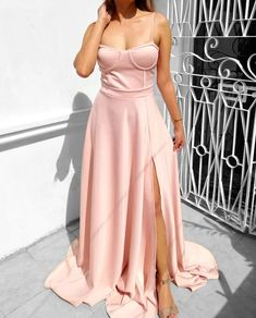 Bustier Sweep Train Ball Gown – Heather Clothing A Line Gown, Pink Fabric, Color Swatches, Dusty Pink, Dress Outfits, Ball Gowns, Train, Formal Dresses, Sexy