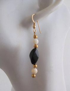 Black and White Earrings with Blackstone and Mother of Pearl