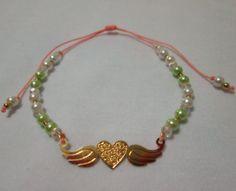 pulsera corazn alado verde pistacho materiales dije y accesorios en oro goldfield perlas