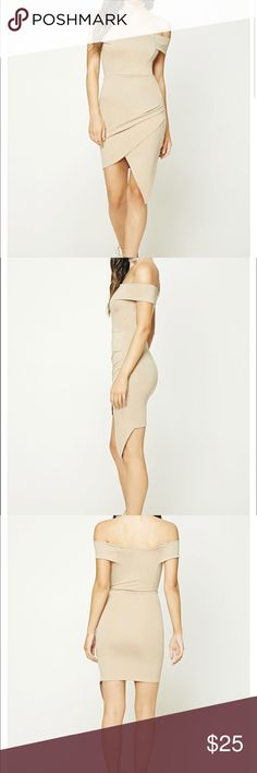 off the shoulder nude dress brand new nude off the should dress Forever 21 Dresses High Low