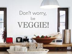 Walltattoo logo Vegetarian ' ' Be veggie ' ' kitchen wall quote English Wall sticker decoration Nursery Wall Decals, Wall Sticker, Kitchen Wall Quotes, Kitchen Decor, Kitchen Design, Normal Wallpaper, Wall Tattoo, Plant Decor, Veggies