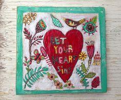 Bird and Heart Love Valentines Gift Folk Art on Etsy, $72.00