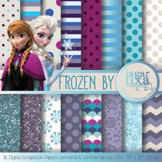 FROZEN Digital Paper Background girly blue by LagartixaShop, $4.00