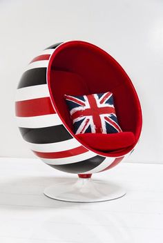 "Custom Painted Union Jack Ball Chair offered by ModShop. ""Everything old is new again. Room Service's re-invention of the mid century classic ball chair. Customize the art or color combination to suit your own groovy space........ Very Austin Powers! Custom paint colors and images available."" Photo and text via ModShop."